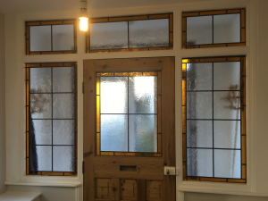 Plain glass panels replaced with beautiful pattern after